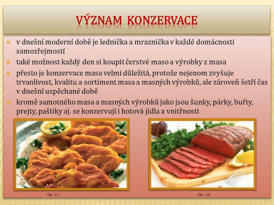  v dnešní moderní době je lednička a mraznička v každé domácnosti samozřejmostí  také možnost každý den si koupit čerstvé maso a výrobky z masa  přesto je konzervace masa velmi důležitá, protože nejenom zvyšuje trvanlivost, kvalitu a sortiment masa a masných výrobků, ale zároveň šetří čas v dnešní uspěchané době  kromě samotného masa a masných výrobků jako jsou šunky, párky, buřty, prejty, paštiky aj.