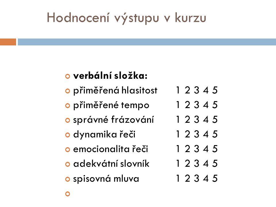 Hodnocení výstupu v kurzu neverbální složka: pohledy1 2 3 4 5 výraz obličeje1 2 3 4 5 gesta1 2 3 4 5 pohyby1 2 3 4 5 fyzický postoj1 2 3 4 5 dotyk1 2 3 4 5 přiblížení – vzdálení1 2 3 4 5 OBSAHOVÁ STRÁNKA PROJEVU: soulad obsahu a formy 1 2 3 4 5 přiměřenost posluchačům 1 2 3 4 5