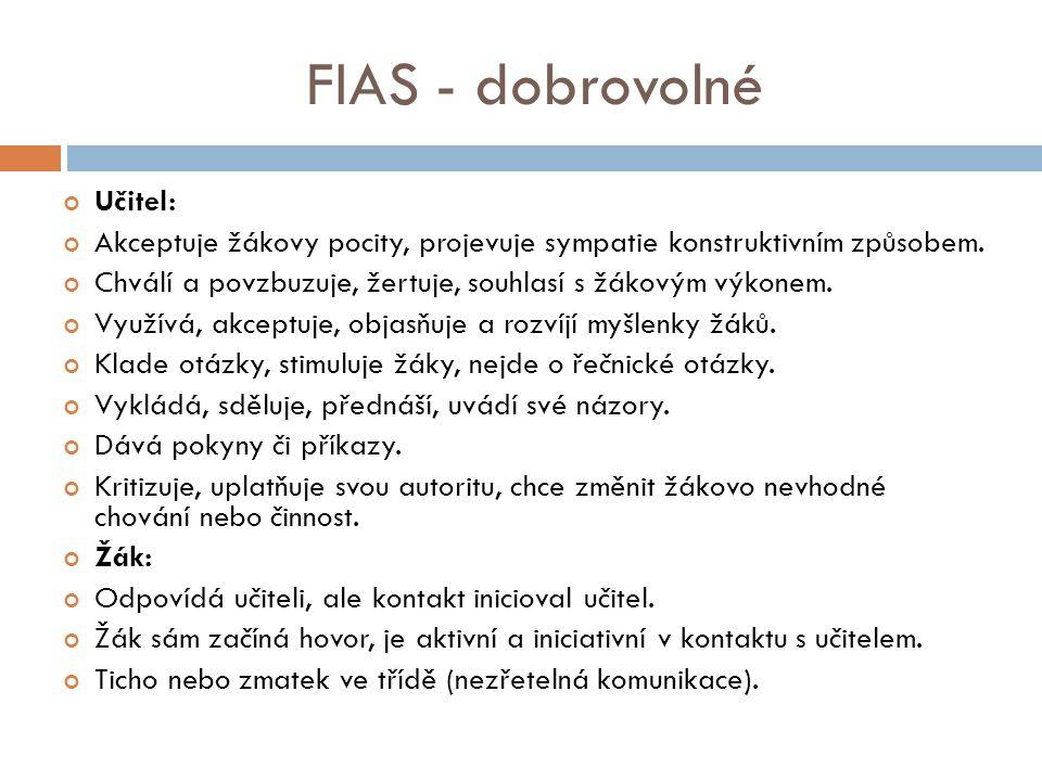FIAS - dobrovolné Učitel: Akceptuje žákovy pocity, projevuje sympatie konstruktivním způsobem.