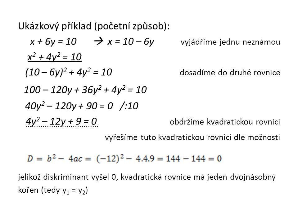 Ukázkový příklad (početní způsob): x + 6y = 10  x = 10 – 6y vyjádříme jednu neznámou x 2 + 4y 2 = 10 (10 – 6y) 2 + 4y 2 = 10 dosadíme do druhé rovnice 100 – 120y + 36y 2 + 4y 2 = 10 40y 2 – 120y + 90 = 0 /:10 4y 2 – 12y + 9 = 0 obdržíme kvadratickou rovnici vyřešíme tuto kvadratickou rovnici dle možnosti jelikož diskriminant vyšel 0, kvadratická rovnice má jeden dvojnásobný kořen (tedy y 1 = y 2 )