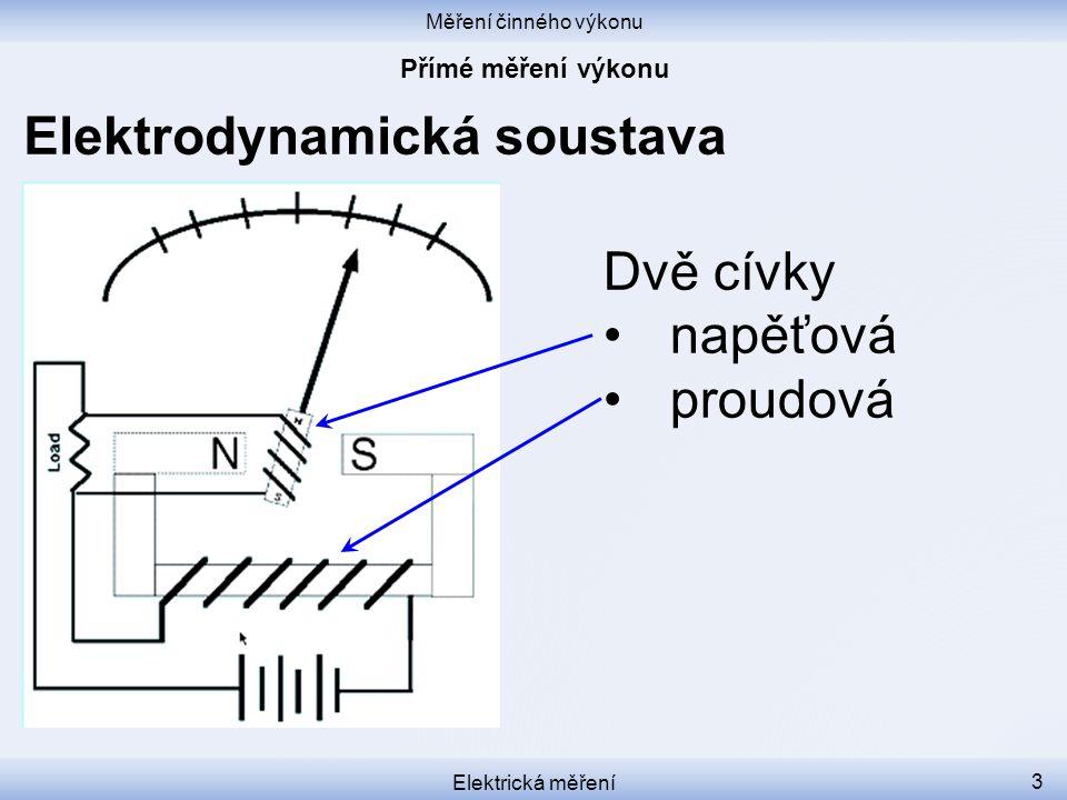 Měření činného výkonu Elektrická měření 4 Elektrodynamická soustava Proudová cívka nepohyblivá tlustým drátem v sérii se spotřebičem měří proud