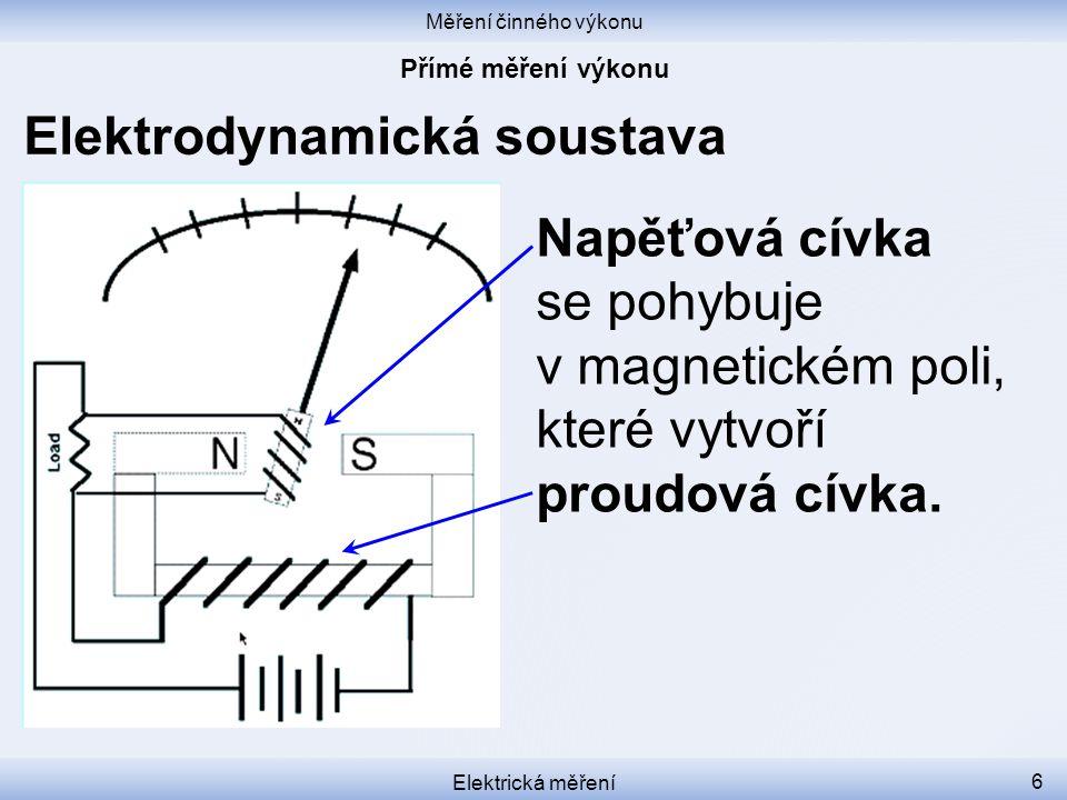 Měření činného výkonu Elektrická měření 7 Elektrodynamická soustava Neteče-li proud, proudová cívka nevytvoří magnetické pole, napěťová cívka se nepohne, ani kdyby na ní bylo napětí.