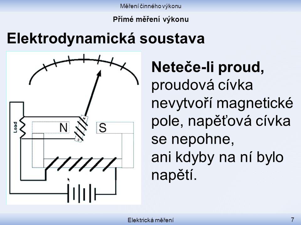 Měření činného výkonu Elektrická měření 7 Elektrodynamická soustava Neteče-li proud, proudová cívka nevytvoří magnetické pole, napěťová cívka se nepoh