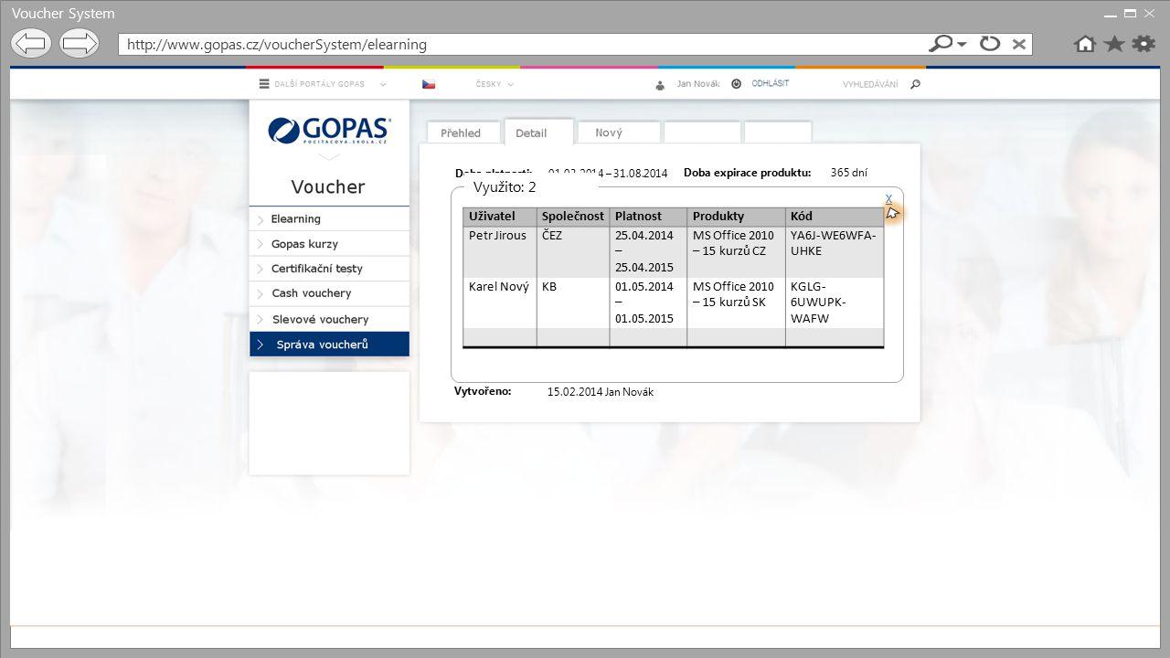 Voucher System http://www.gopas.cz/voucherSystem/elearning Doba platnosti: Popis voucheru: Počet voucherů: Produkty: Omezení: Doba expirace produktu: