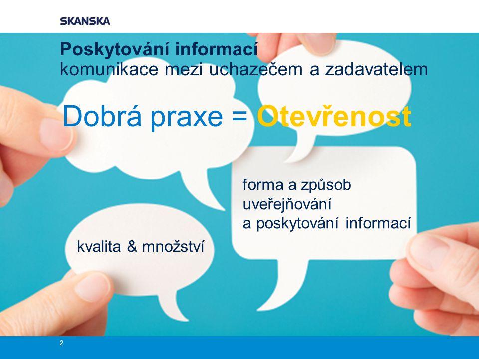 Poskytování informací komunikace mezi uchazečem a zadavatelem Dobrá praxe = Otevřenost 2 kvalita & množství forma a způsob uveřejňování a poskytování informací
