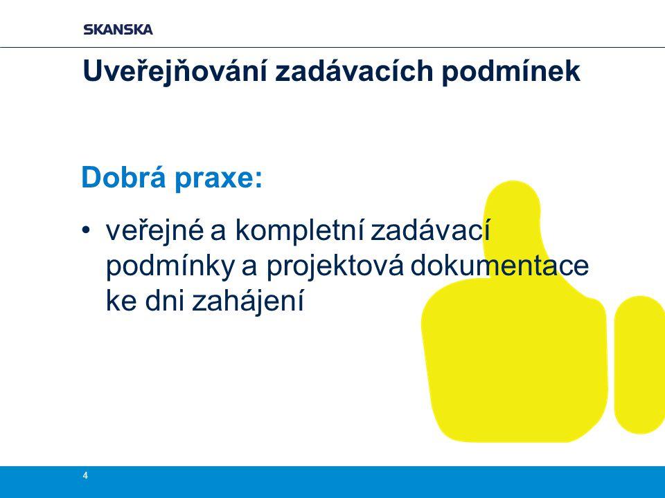 Dobrá praxe: veřejné a kompletní zadávací podmínky a projektová dokumentace ke dni zahájení 4 Uveřejňování zadávacích podmínek