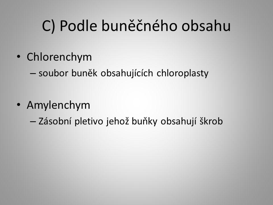 C) Podle buněčného obsahu Chlorenchym – soubor buněk obsahujících chloroplasty Amylenchym – Zásobní pletivo jehož buňky obsahují škrob