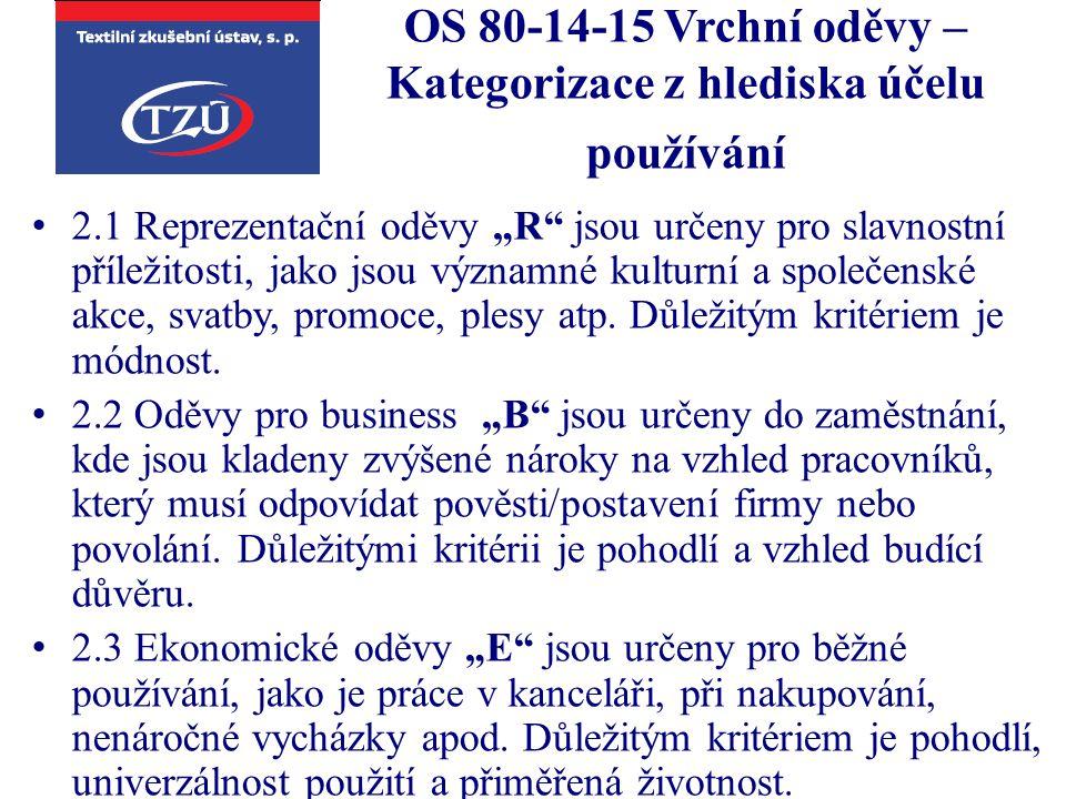 """OS 80-14-15 Vrchní oděvy – Kategorizace z hlediska účelu používání 2.1 Reprezentační oděvy """"R"""" jsou určeny pro slavnostní příležitosti, jako jsou význ"""