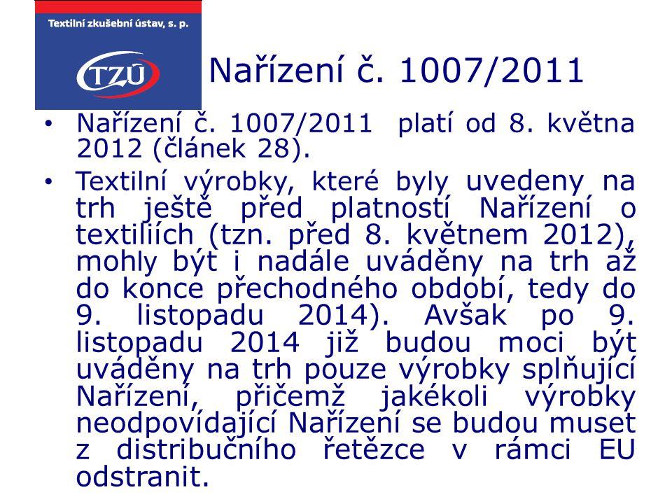 Nařízení č. 1007/2011 Nařízení č. 1007/2011 platí od 8. května 2012 (článek 28). Textilní výrobky, které byly uvedeny na trh ještě před platností Naří