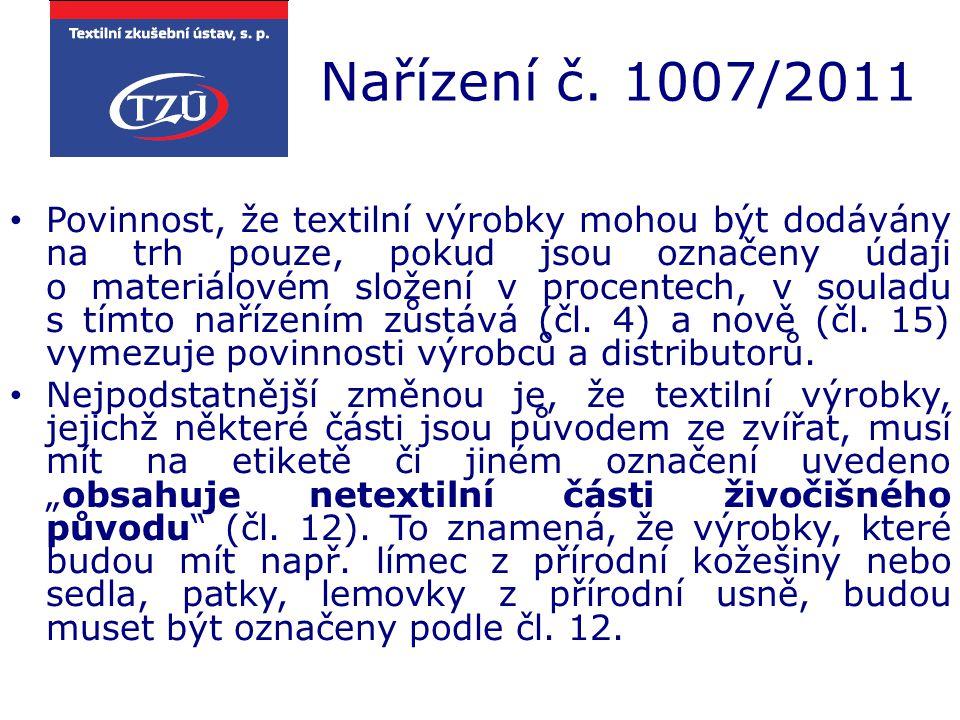 Nařízení č. 1007/2011 Povinnost, že textilní výrobky mohou být dodávány na trh pouze, pokud jsou označeny údaji o materiálovém složení v procentech, v