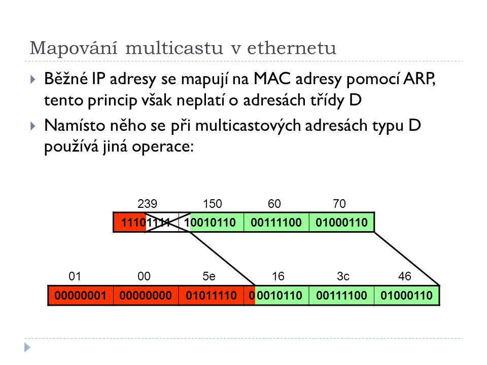 Mapování multicastu v ethernetu  Běžné IP adresy se mapují na MAC adresy pomocí ARP, tento princip však neplatí o adresách třídy D  Namísto něho se při multicastových adresách typu D používá jiná operace: 11101111100101100011110001000110 000000010000000001011110000101100011110001000110 2396070150 01005e163c46