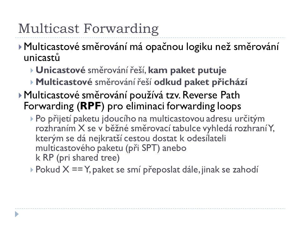 Multicast Forwarding  Multicastové směrování má opačnou logiku než směrování unicastů  Unicastové směrování řeší, kam paket putuje  Multicastové směrování řeší odkud paket přichází  Multicastové směrování používá tzv.