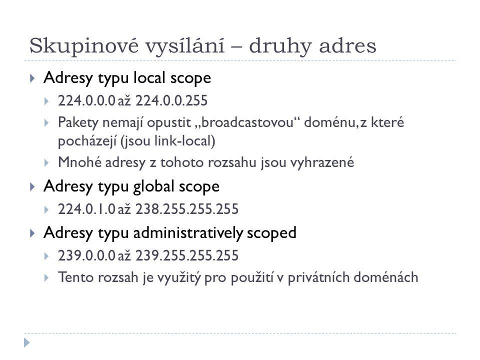 """Skupinové vysílání – druhy adres  Adresy typu local scope  224.0.0.0 až 224.0.0.255  Pakety nemají opustit """"broadcastovou"""" doménu, z které pocházej"""