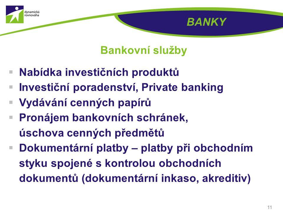 11 BANKY Bankovní služby  Nabídka investičních produktů  Investiční poradenství, Private banking  Vydávání cenných papírů  Pronájem bankovních schránek, úschova cenných předmětů  Dokumentární platby – platby při obchodním styku spojené s kontrolou obchodních dokumentů (dokumentární inkaso, akreditiv)