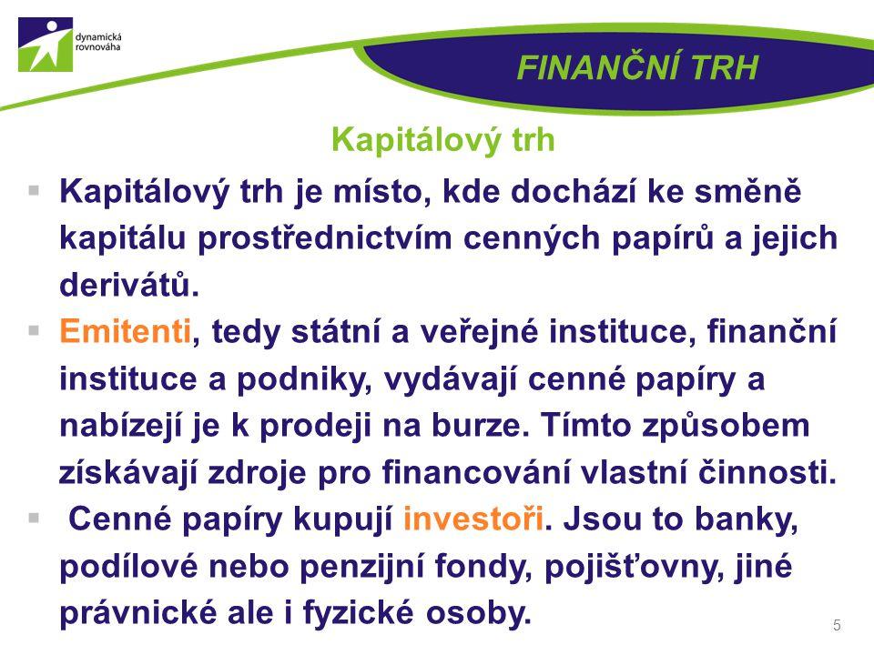 5 FINANČNÍ TRH Kapitálový trh  Kapitálový trh je místo, kde dochází ke směně kapitálu prostřednictvím cenných papírů a jejich derivátů.