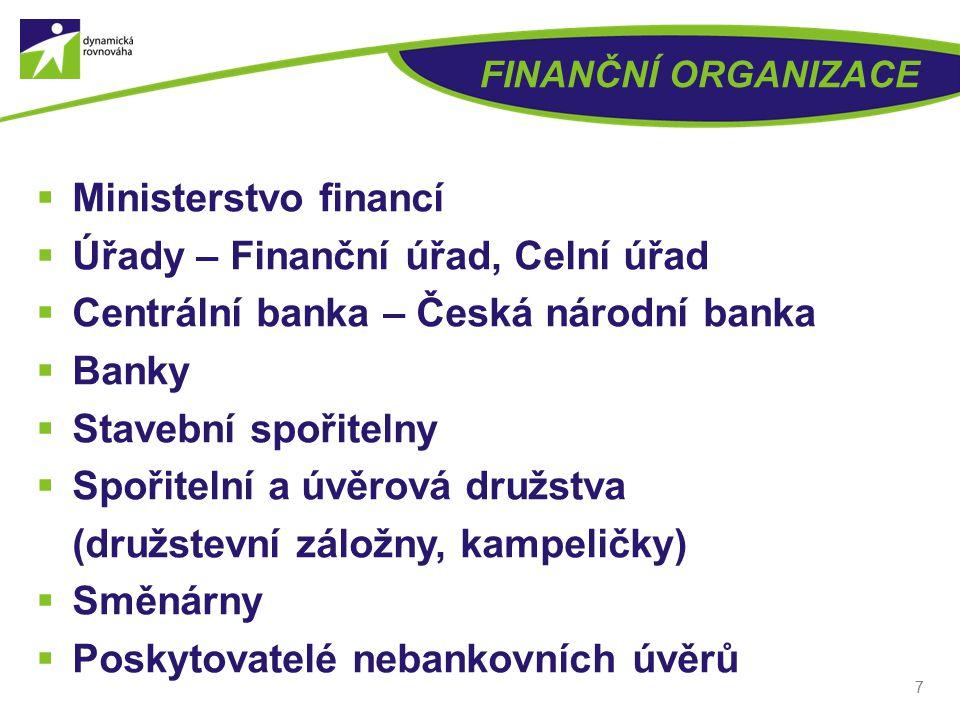 FINANČNÍ ORGANIZACE  Ministerstvo financí  Úřady – Finanční úřad, Celní úřad  Centrální banka – Česká národní banka  Banky  Stavební spořitelny  Spořitelní a úvěrová družstva (družstevní záložny, kampeličky)  Směnárny  Poskytovatelé nebankovních úvěrů 7