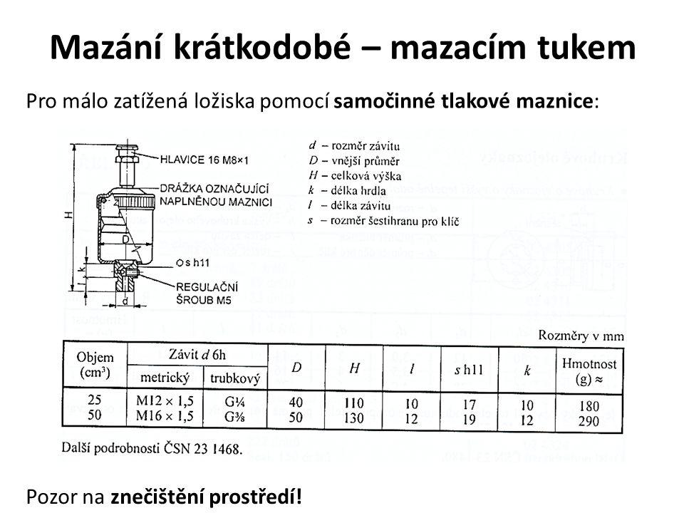Mazání krátkodobé – mazacím tukem Pro málo zatížená ložiska pomocí samočinné tlakové maznice: Pozor na znečištění prostředí!