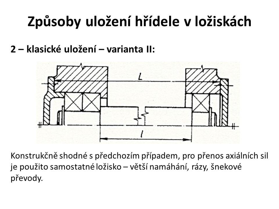 Způsoby uložení hřídele v ložiskách 2 – klasické uložení – varianta II: Konstrukčně shodné s předchozím případem, pro přenos axiálních sil je použito samostatné ložisko – větší namáhání, rázy, šnekové převody.