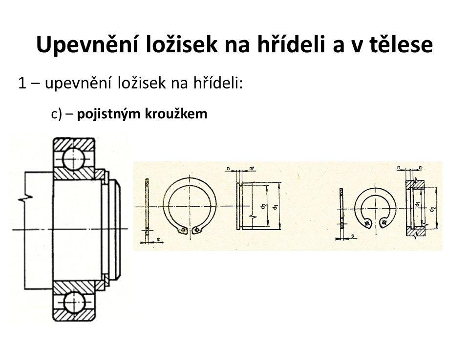 Upevnění ložisek na hřídeli a v tělese 1 – upevnění ložisek na hřídeli: c) – pojistným kroužkem
