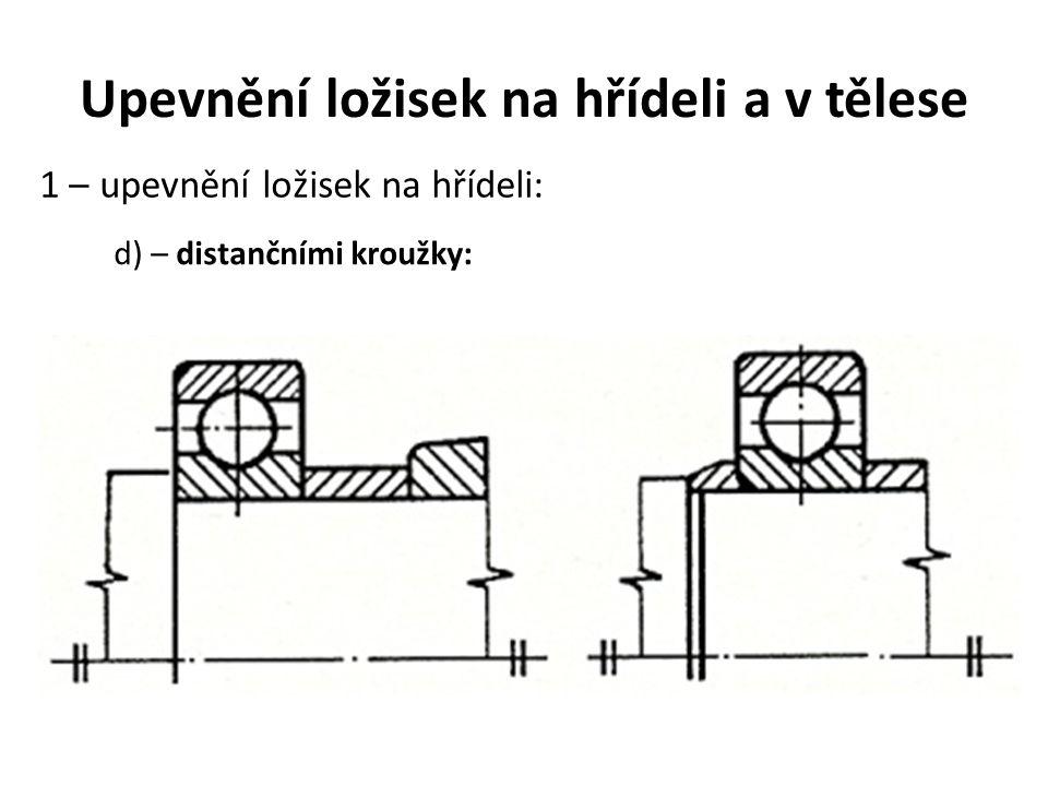 Upevnění ložisek na hřídeli a v tělese 1 – upevnění ložisek na hřídeli: d) – distančními kroužky: