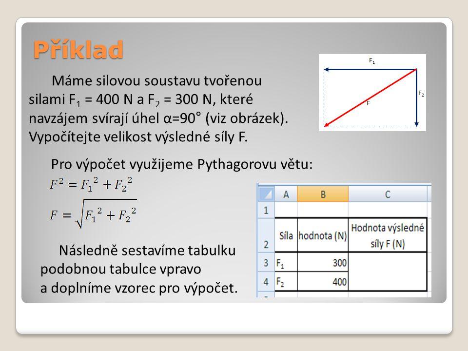 Příklad Máme silovou soustavu tvořenou silami F 1 = 400 N a F 2 = 300 N, které navzájem svírají úhel α=90° (viz obrázek). Vypočítejte velikost výsledn