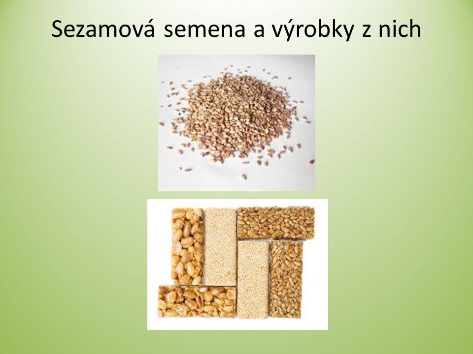 Sezamová semena a výrobky z nich