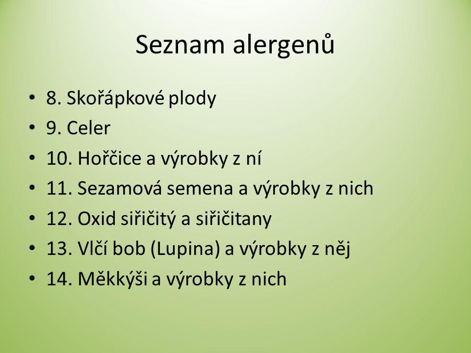 Seznam alergenů 8. Skořápkové plody 9. Celer 10. Hořčice a výrobky z ní 11. Sezamová semena a výrobky z nich 12. Oxid siřičitý a siřičitany 13. Vlčí b