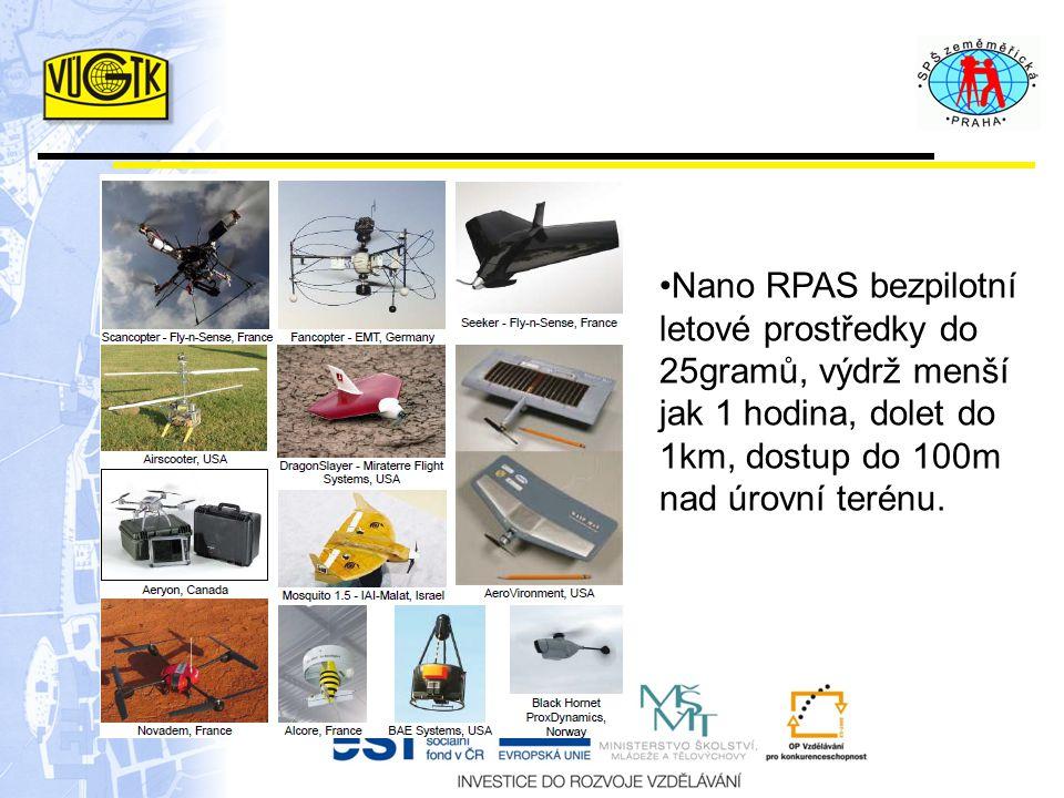 Nano RPAS bezpilotní letové prostředky do 25gramů, výdrž menší jak 1 hodina, dolet do 1km, dostup do 100m nad úrovní terénu.