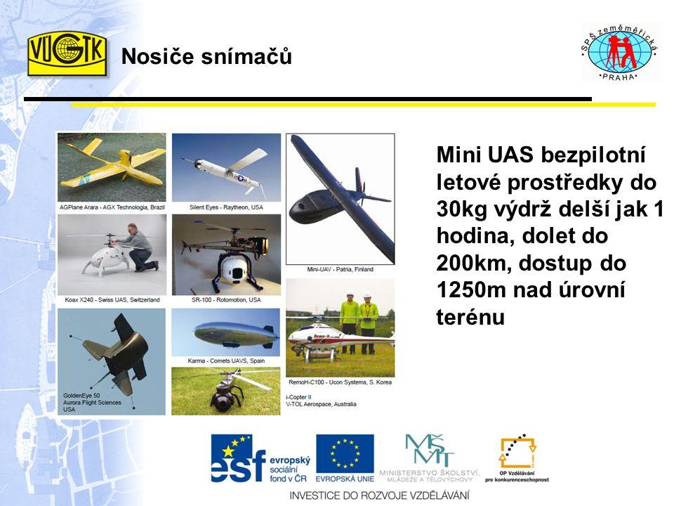 Mini UAS bezpilotní letové prostředky do 30kg výdrž delší jak 1 hodina, dolet do 200km, dostup do 1250m nad úrovní terénu