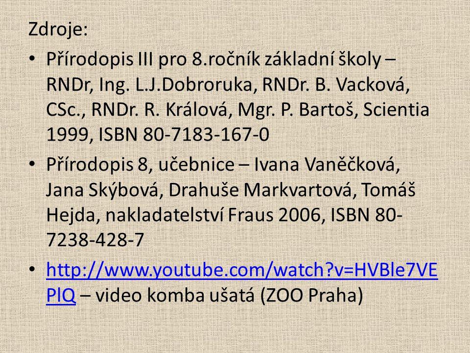 Zdroje: Přírodopis III pro 8.ročník základní školy – RNDr, Ing. L.J.Dobroruka, RNDr. B. Vacková, CSc., RNDr. R. Králová, Mgr. P. Bartoš, Scientia 1999