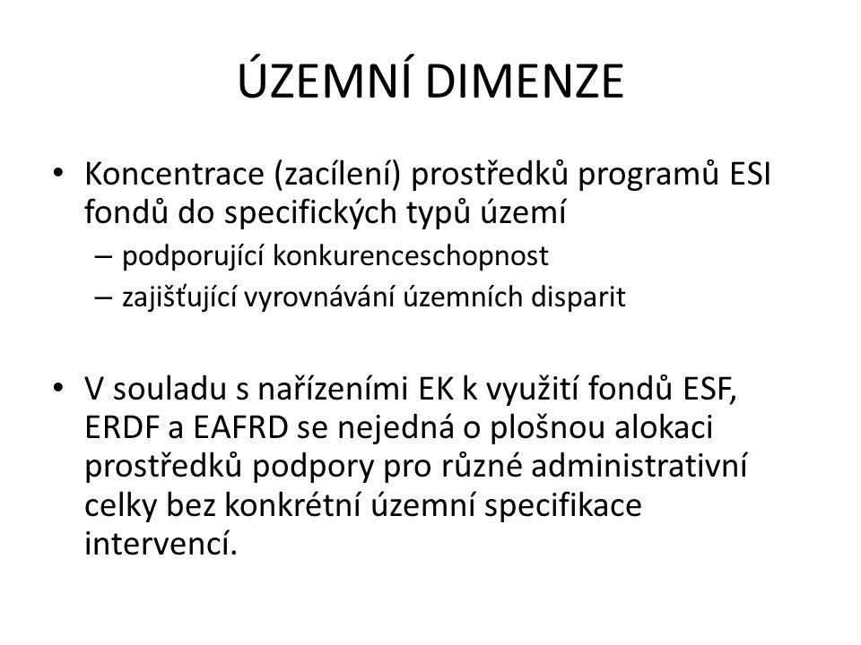 ÚZEMNÍ DIMENZE Koncentrace (zacílení) prostředků programů ESI fondů do specifických typů území – podporující konkurenceschopnost – zajišťující vyrovnávání územních disparit V souladu s nařízeními EK k využití fondů ESF, ERDF a EAFRD se nejedná o plošnou alokaci prostředků podpory pro různé administrativní celky bez konkrétní územní specifikace intervencí.