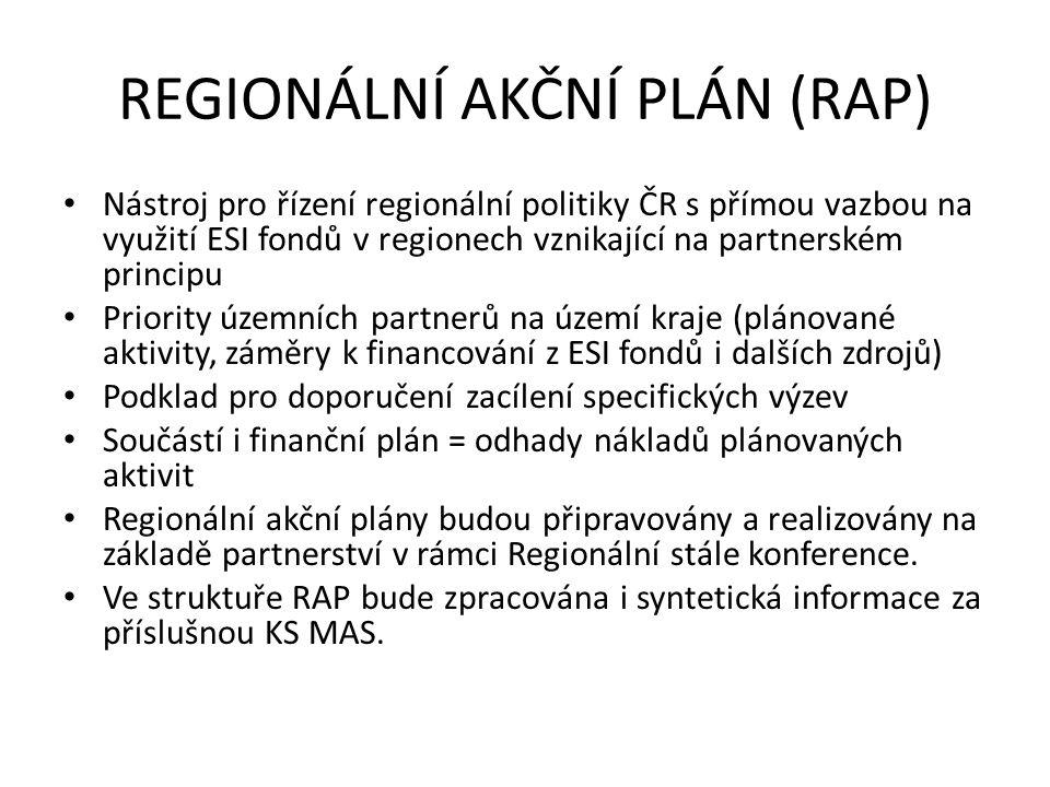 REGIONÁLNÍ AKČNÍ PLÁN (RAP) Nástroj pro řízení regionální politiky ČR s přímou vazbou na využití ESI fondů v regionech vznikající na partnerském principu Priority územních partnerů na území kraje (plánované aktivity, záměry k financování z ESI fondů i dalších zdrojů) Podklad pro doporučení zacílení specifických výzev Součástí i finanční plán = odhady nákladů plánovaných aktivit Regionální akční plány budou připravovány a realizovány na základě partnerství v rámci Regionální stále konference.