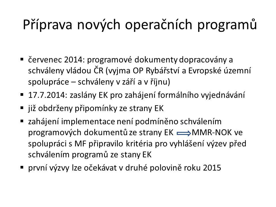 červenec 2014: programové dokumenty dopracovány a schváleny vládou ČR (vyjma OP Rybářství a Evropské územní spolupráce – schváleny v září a v říjnu)  17.7.2014: zaslány EK pro zahájení formálního vyjednávání  již obdrženy připomínky ze strany EK  zahájení implementace není podmíněno schválením programových dokumentů ze strany EK MMR-NOK ve spolupráci s MF připravilo kritéria pro vyhlášení výzev před schválením programů ze stany EK  první výzvy lze očekávat v druhé polovině roku 2015 Příprava nových operačních programů