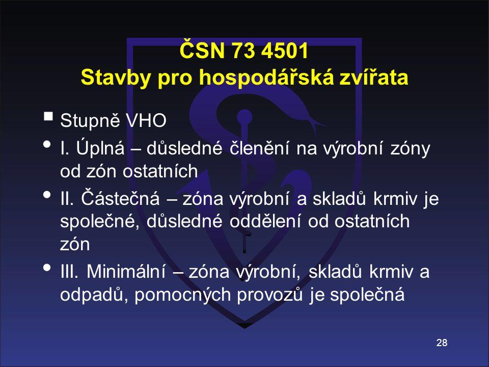 ČSN 73 4501 Stavby pro hospodářská zvířata  Stupně VHO I. Úplná – důsledné členění na výrobní zóny od zón ostatních II. Částečná – zóna výrobní a skl