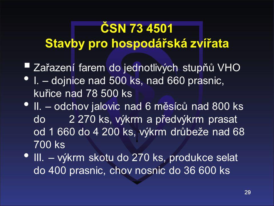 ČSN 73 4501 Stavby pro hospodářská zvířata  Zařazení farem do jednotlivých stupňů VHO I. – dojnice nad 500 ks, nad 660 prasnic, kuřice nad 78 500 ks