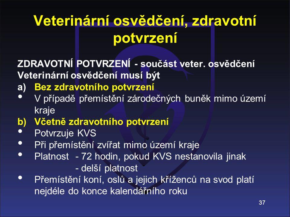 ZDRAVOTNÍ POTVRZENÍ - součást veter. osvědčení Veterinární osvědčení musí být a)Bez zdravotního potvrzení V případě přemístění zárodečných buněk mimo
