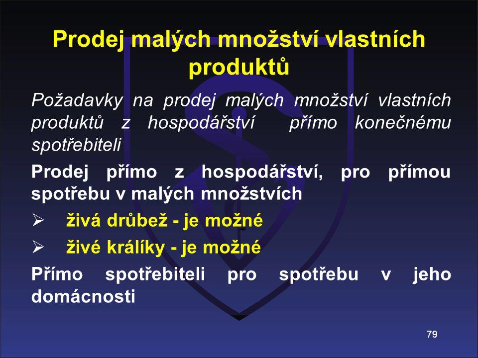 Prodej malých množství vlastních produktů Požadavky na prodej malých množství vlastních produktů z hospodářství přímo konečnému spotřebiteli Prodej př