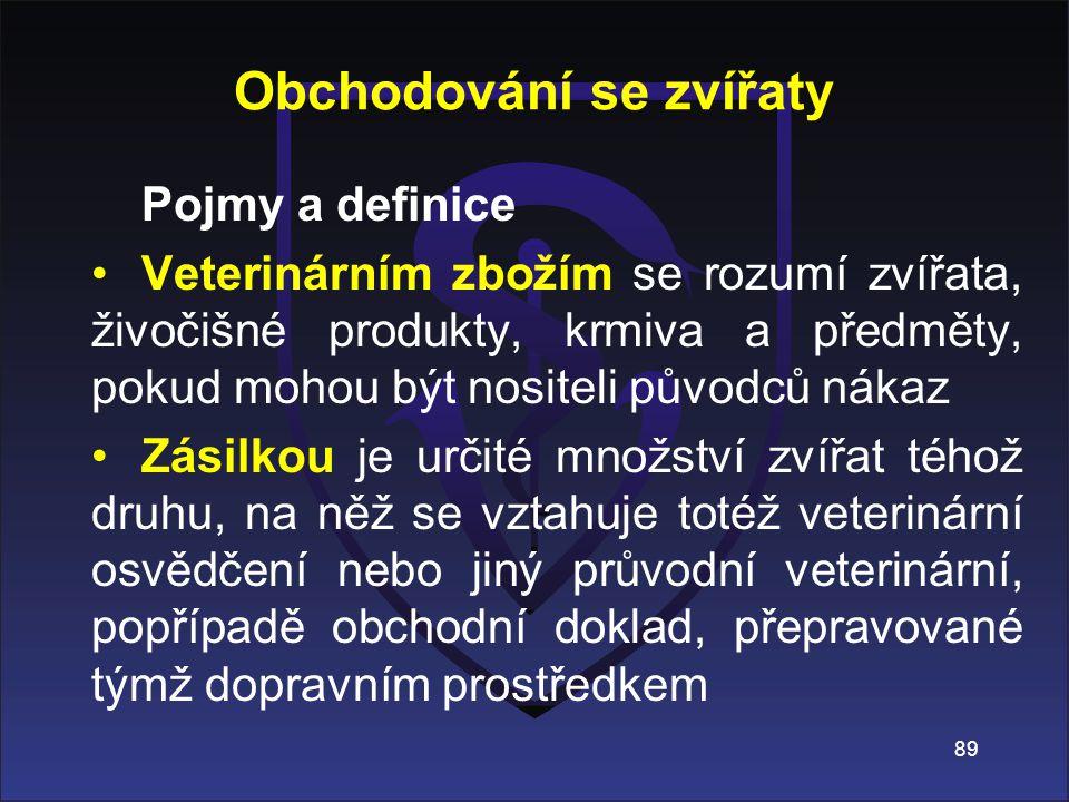 Pojmy a definice Veterinárním zbožím se rozumí zvířata, živočišné produkty, krmiva a předměty, pokud mohou být nositeli původců nákaz Zásilkou je urči