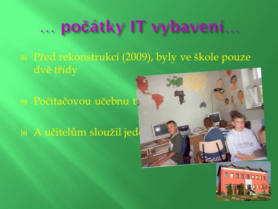  Před rekonstrukcí (2009), byly ve škole pouze dvě třídy  Počítačovou učebnu tvořilo jen pár počítačů  A učitelům sloužil jeden společný