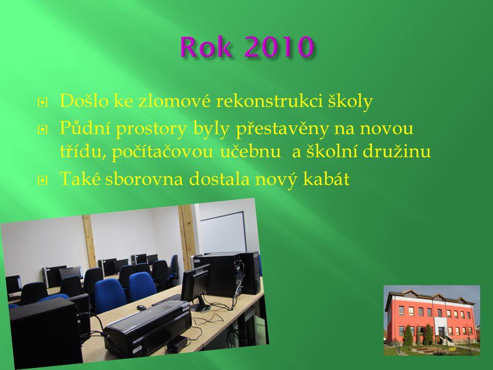  Došlo ke zlomové rekonstrukci školy  Půdní prostory byly přestavěny na novou třídu, počítačovou učebnu a školní družinu  Také sborovna dostala nov