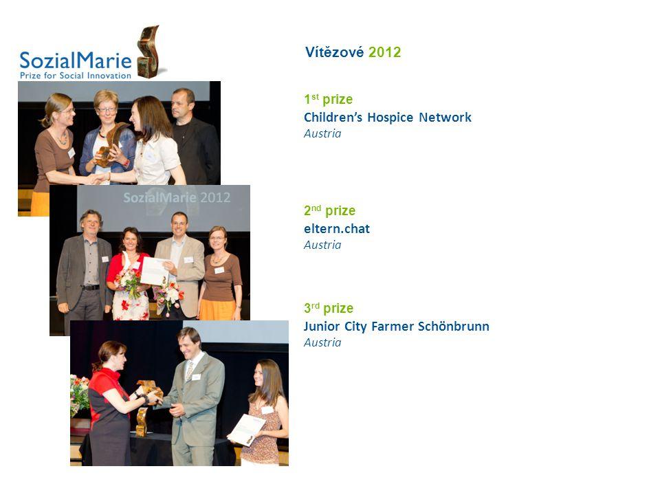Vítězové 2012 1 st prize Children's Hospice Network Austria 2 nd prize eltern.chat Austria 3 rd prize Junior City Farmer Schönbrunn Austria