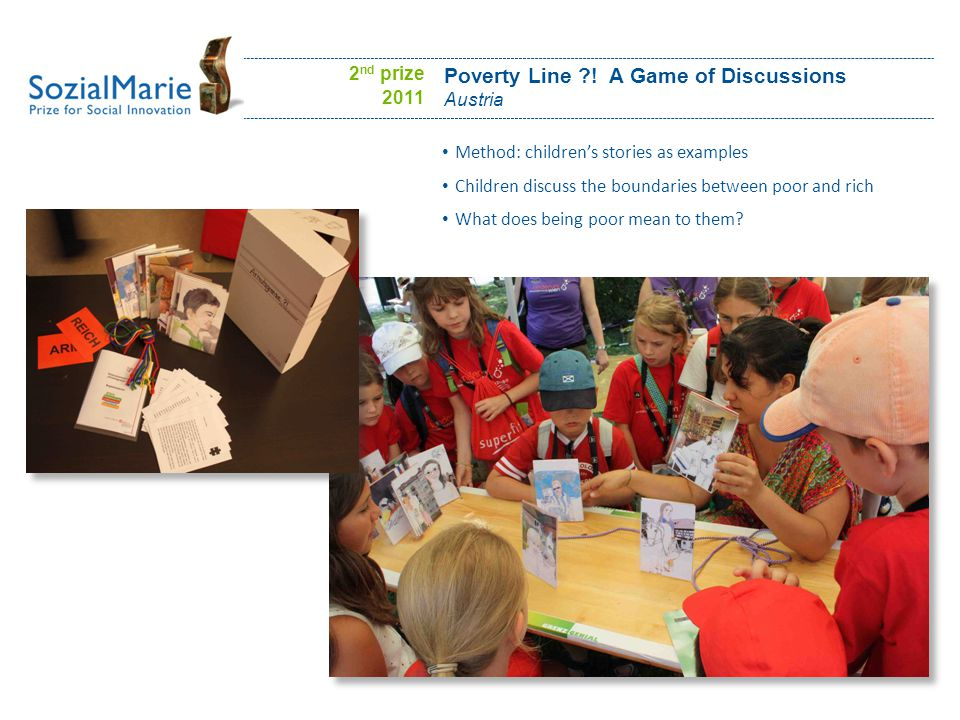 Poverty Line ?! A Game of Discussions Austria Method: children's stories as examples Children discuss the boundaries between poor and rich What does b