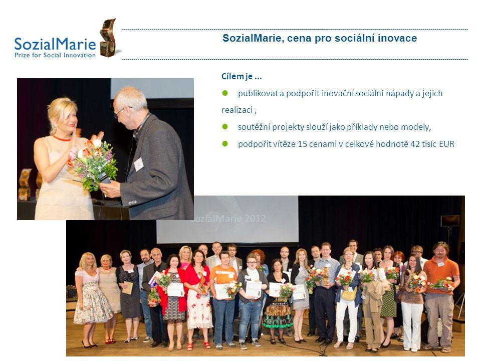SozialMarie, cena pro sociální inovace Cílem je...  publikovat a podpořit inovační sociální nápady a jejich realizaci,  soutěžní projekty slouží jak