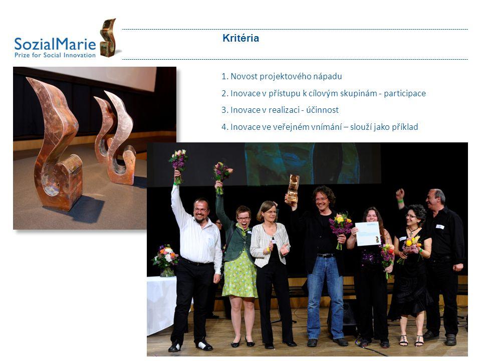 Kritéria 1. Novost projektového nápadu 2. Inovace v přístupu k cílovým skupinám - participace 3. Inovace v realizaci - účinnost 4. Inovace ve veřejném