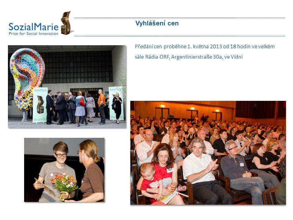 Vyhlášení cen Předání cen proběhne 1. května 2013 od 18 hodin ve velkém sále Rádia ORF, Argentinierstraße 30a, ve Vídni