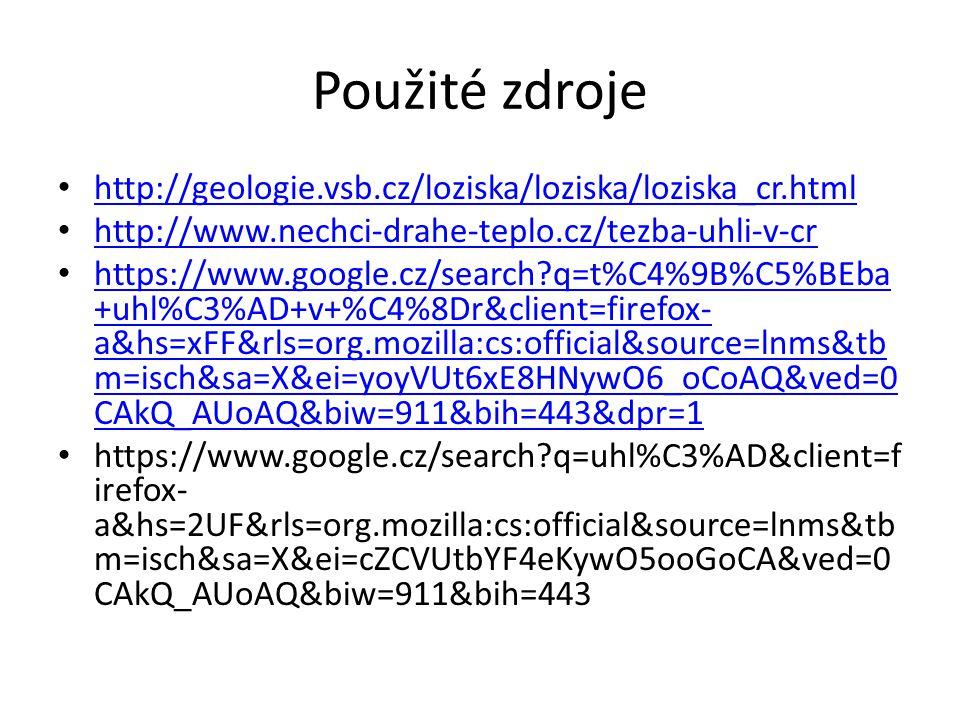 Použité zdroje http://geologie.vsb.cz/loziska/loziska/loziska_cr.html http://www.nechci-drahe-teplo.cz/tezba-uhli-v-cr https://www.google.cz/search?q=