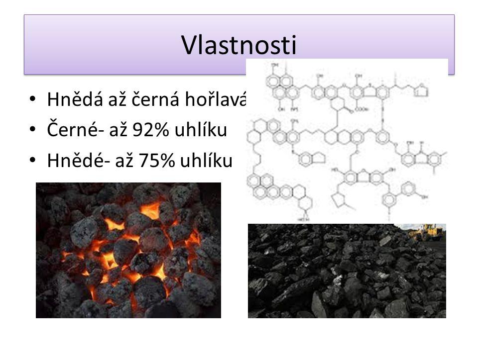 Vlastnosti Hnědá až černá hořlavá hornina Černé- až 92% uhlíku Hnědé- až 75% uhlíku