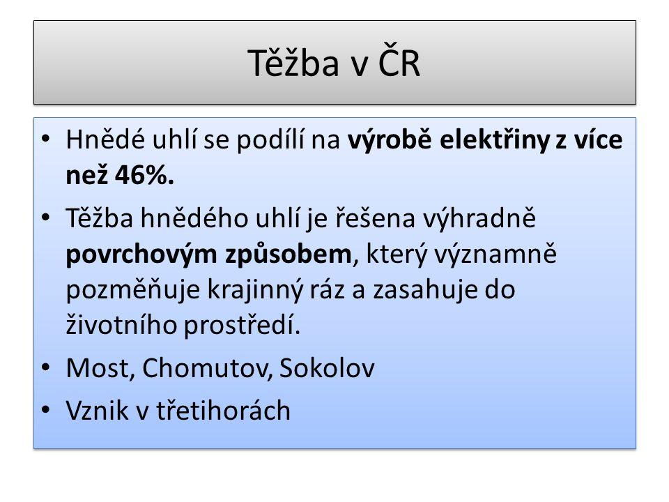 Těžba v ČR Hnědé uhlí se podílí na výrobě elektřiny z více než 46%. Těžba hnědého uhlí je řešena výhradně povrchovým způsobem, který významně pozměňuj