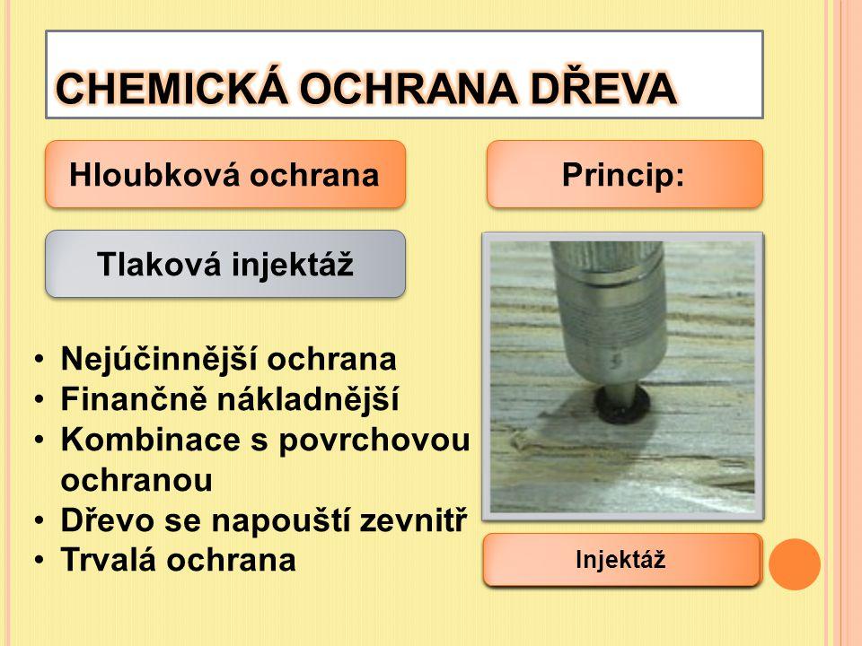 Hloubková ochrana Tlaková injektáž Nejúčinnější ochrana Finančně nákladnější Kombinace s povrchovou ochranou Dřevo se napouští zevnitř Trvalá ochrana
