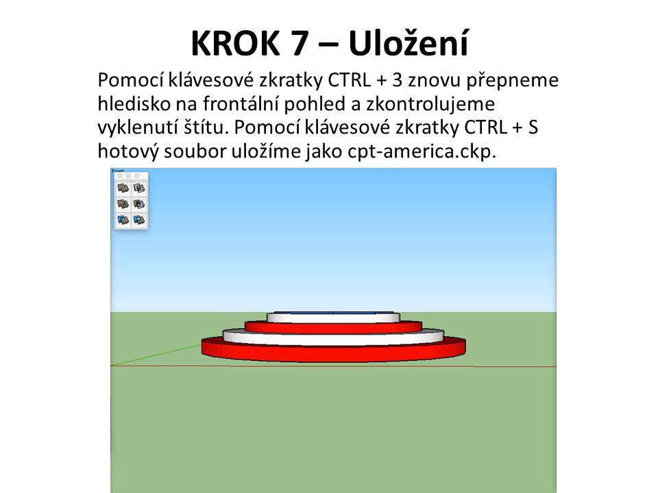 KROK 7 – Uložení Pomocí klávesové zkratky CTRL + 3 znovu přepneme hledisko na frontální pohled a zkontrolujeme vyklenutí štítu.